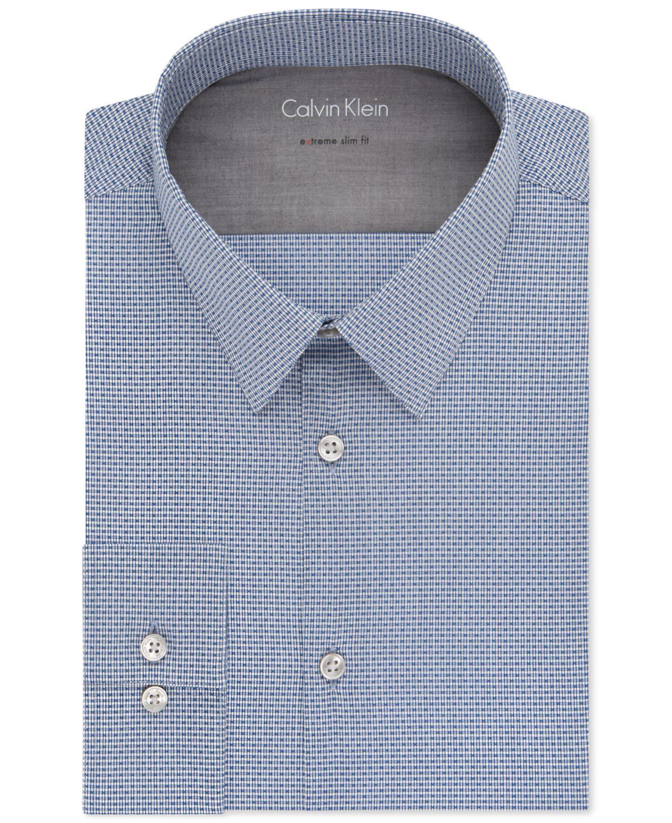 Calvin klein x extra slim fit stream blue dobby check for Calvin klein x fit dress shirt