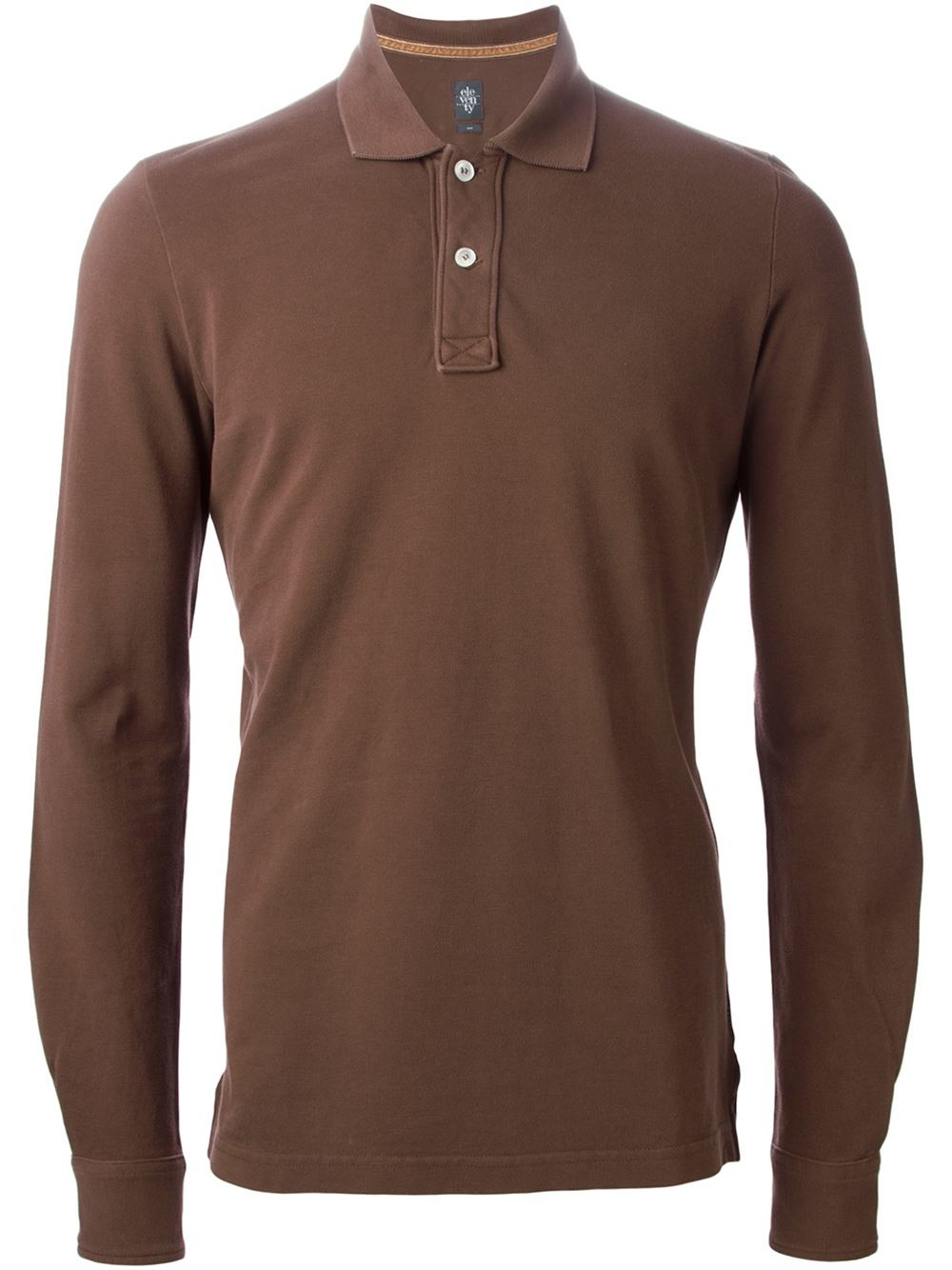 Eleventy Long Sleeve Polo Shirt In Brown For Men Lyst