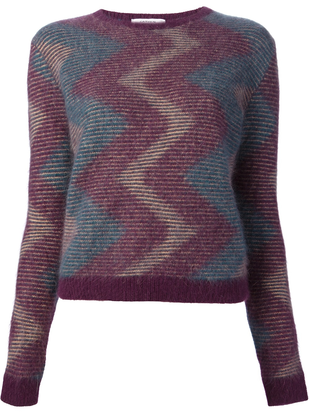 Knit Sweater With Zig Zag Pattern : Lyst carven zig zag pattern sweater in purple
