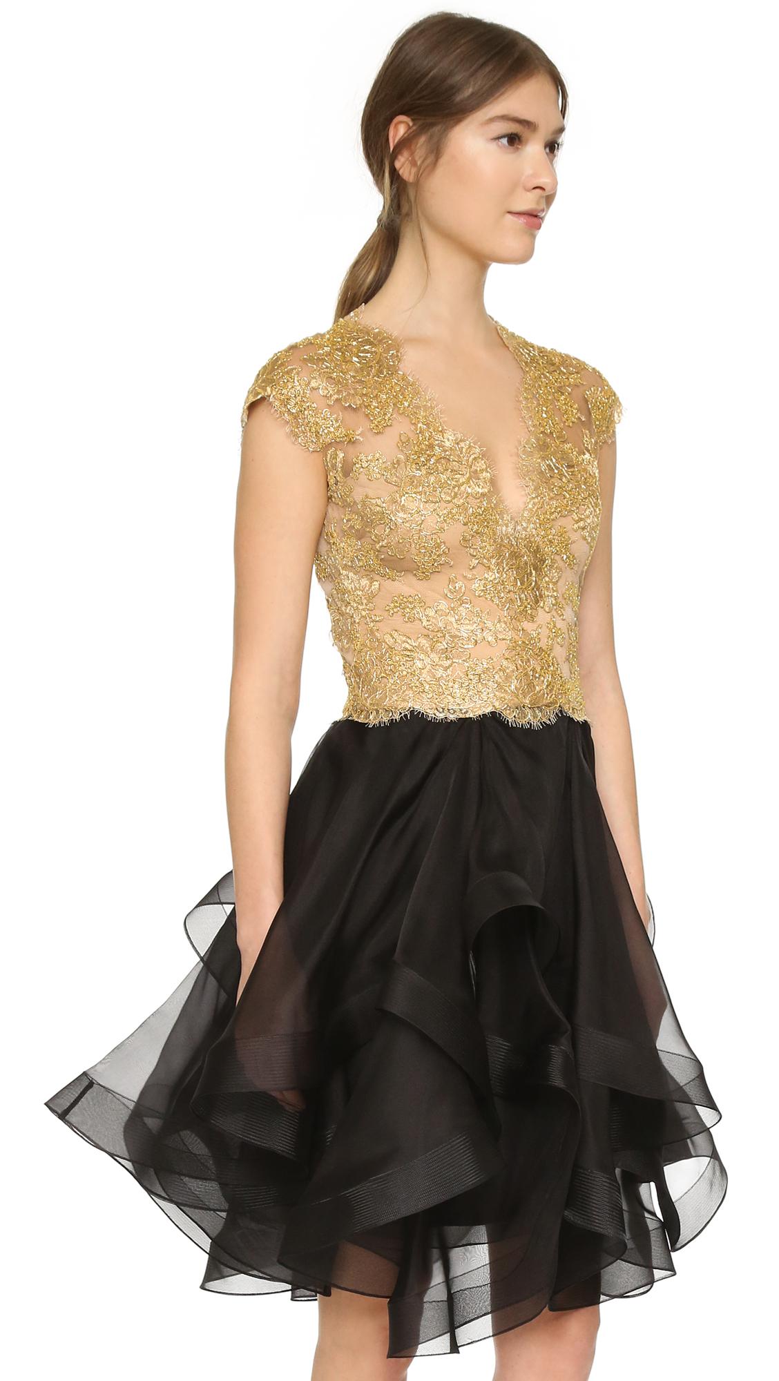 Lyst Reem Acra Cap Sleeve Lace Dress In Metallic