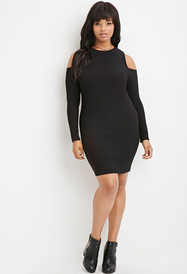 c4f0953c93 Forever 21 Plus Size Open-shoulder Ribbed Sweater Dress in Black - Lyst