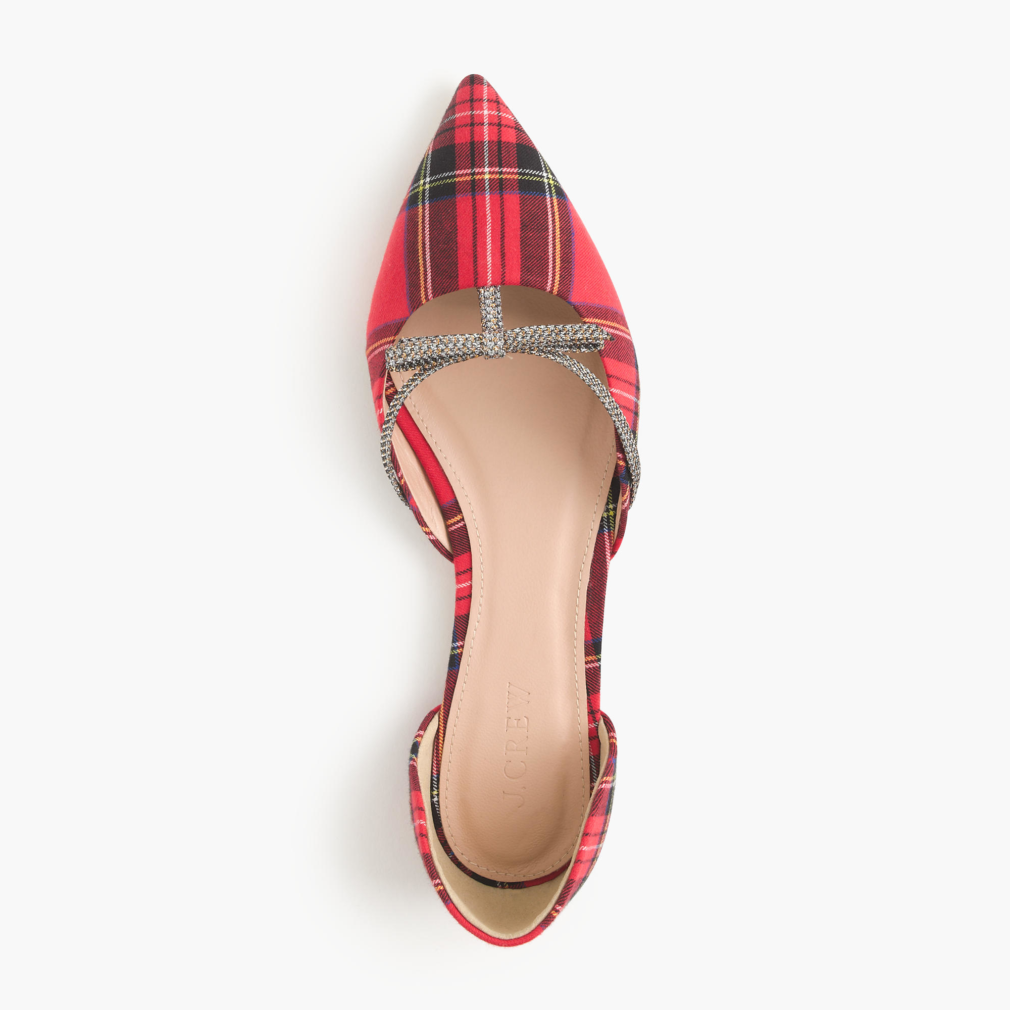Red Plaid Flat Shoes