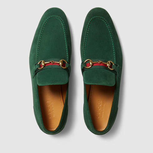 7ce05626b Gucci Horsebit Suede Loafer With Web in Green for Men - Lyst