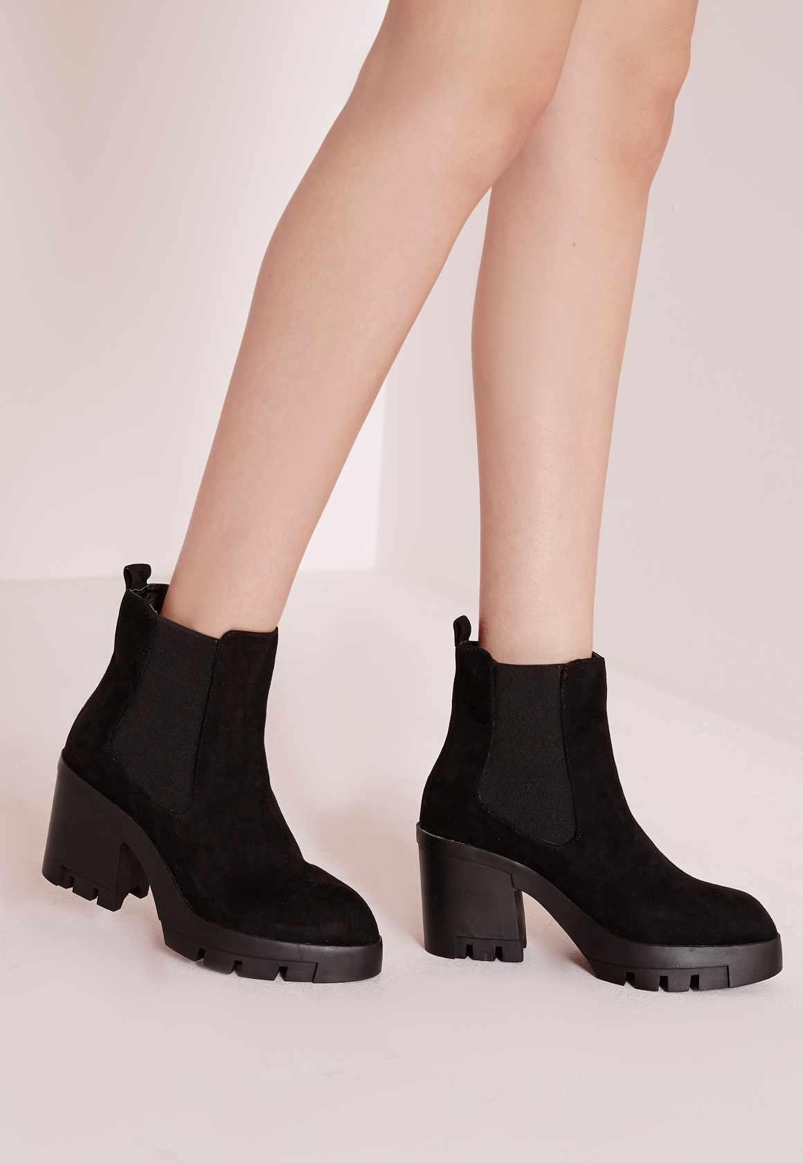 Missguided Cleated Heeled Chelsea Boots