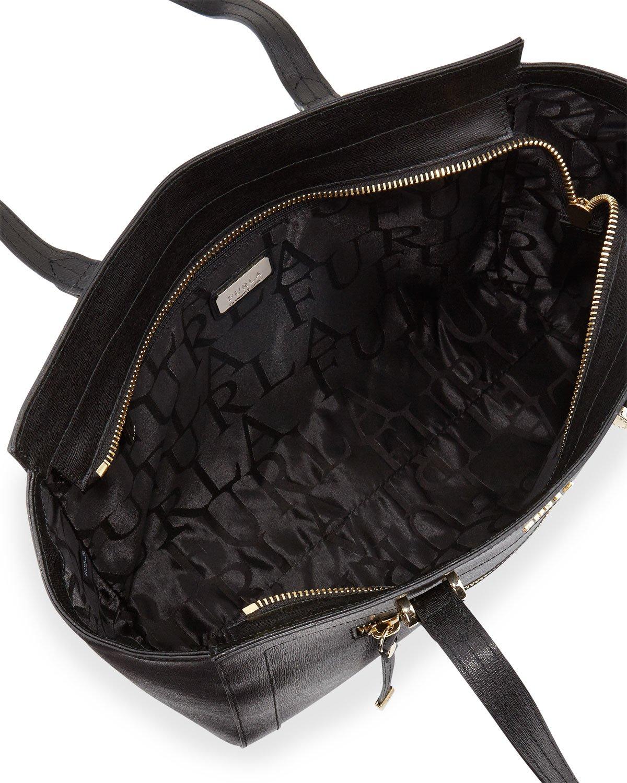 Furla Ginevra Large Leather Satchel Bag in Black   Lyst