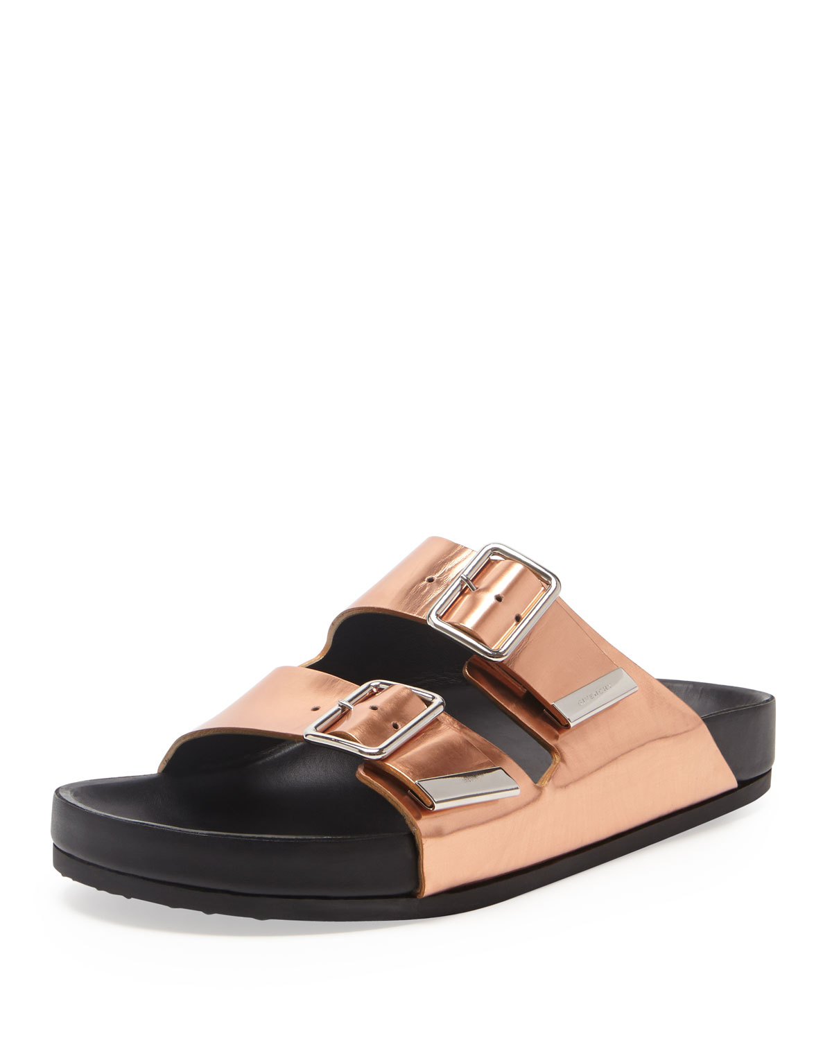 Givenchy Swiss Metallic Flat Sandal In Metallic Lyst
