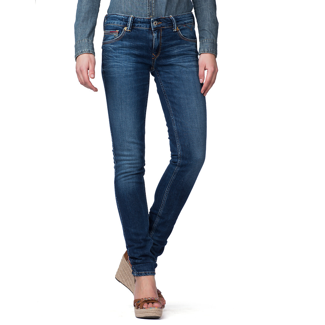 tommy hilfiger sophie skinny leg jeans in blue lyst. Black Bedroom Furniture Sets. Home Design Ideas