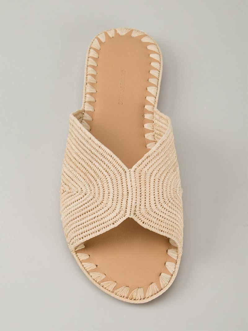 0d64d87651f7 Carrie Forbes Woven Sliders in Natural - Lyst