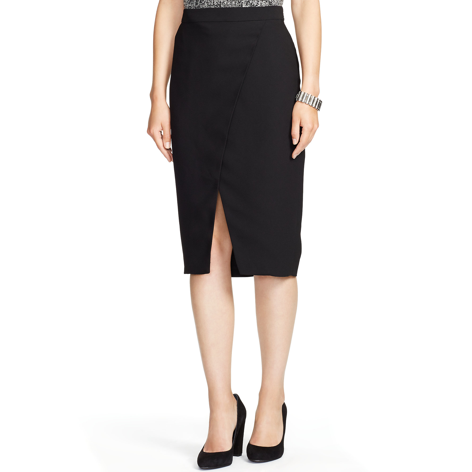 ralph front slit pencil skirt in black lyst