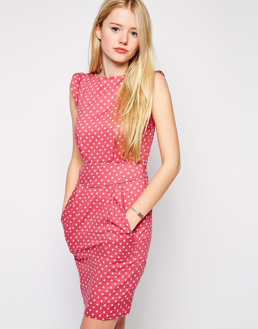 602e084fbc5 Lyst - Emily and Fin Emily   Fin Printed Shift Dress in Red