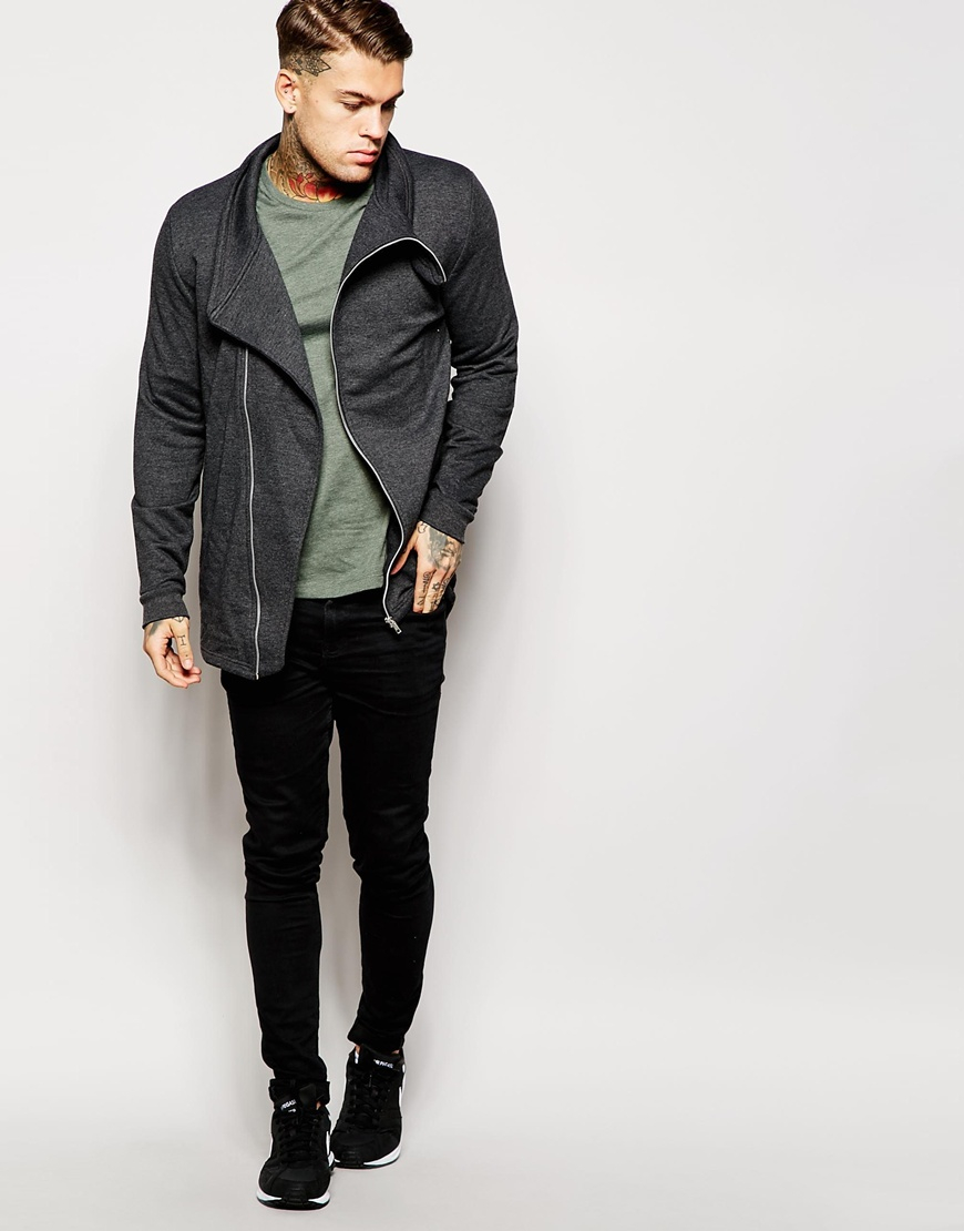 Lyst - Asos Longline Jersy Parka Jacket With Funnel Neck And Asymmetric Zip  in Gray for Men