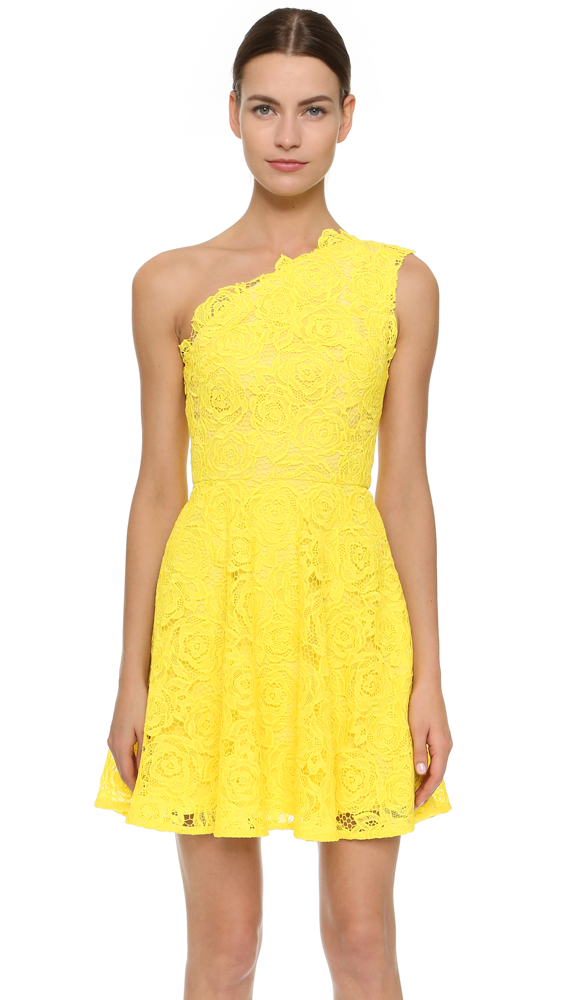 3cb0c1bf0cb2 Lyst - Monique Lhuillier One Shoulder Dress in Yellow