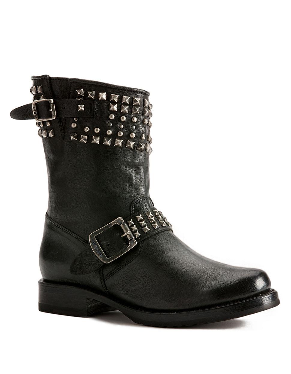frye leather biker boots in black lyst