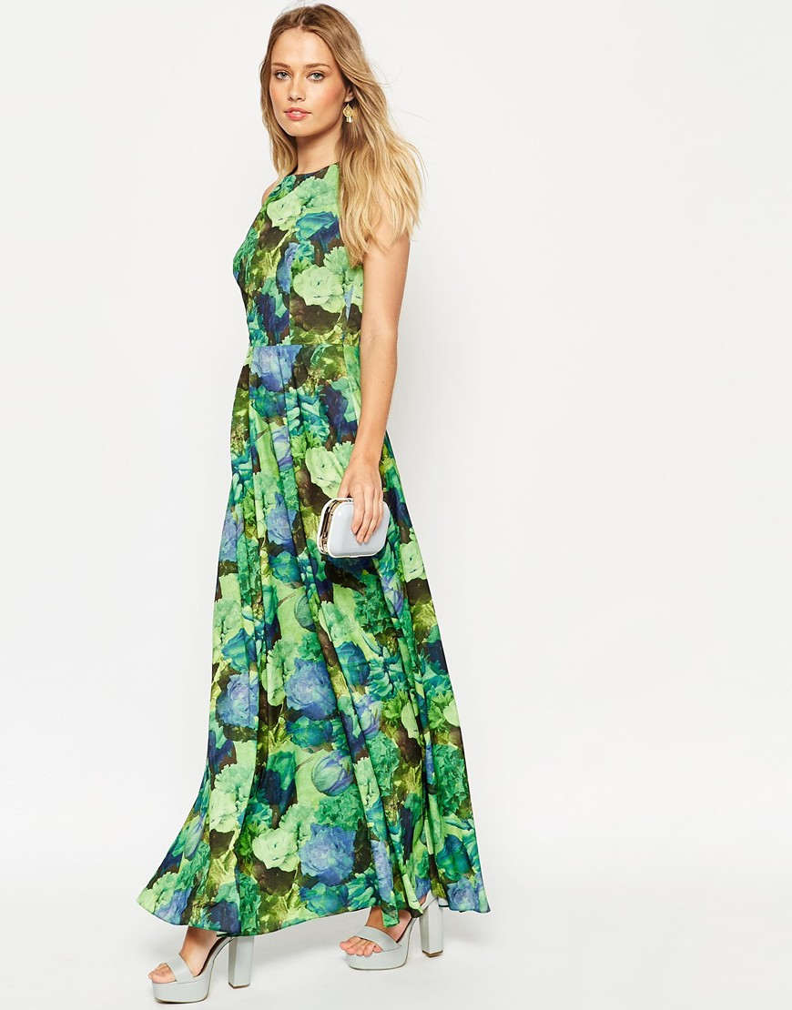 Lyst - Asos Cross Back Maxi Dress In Green Floral Print