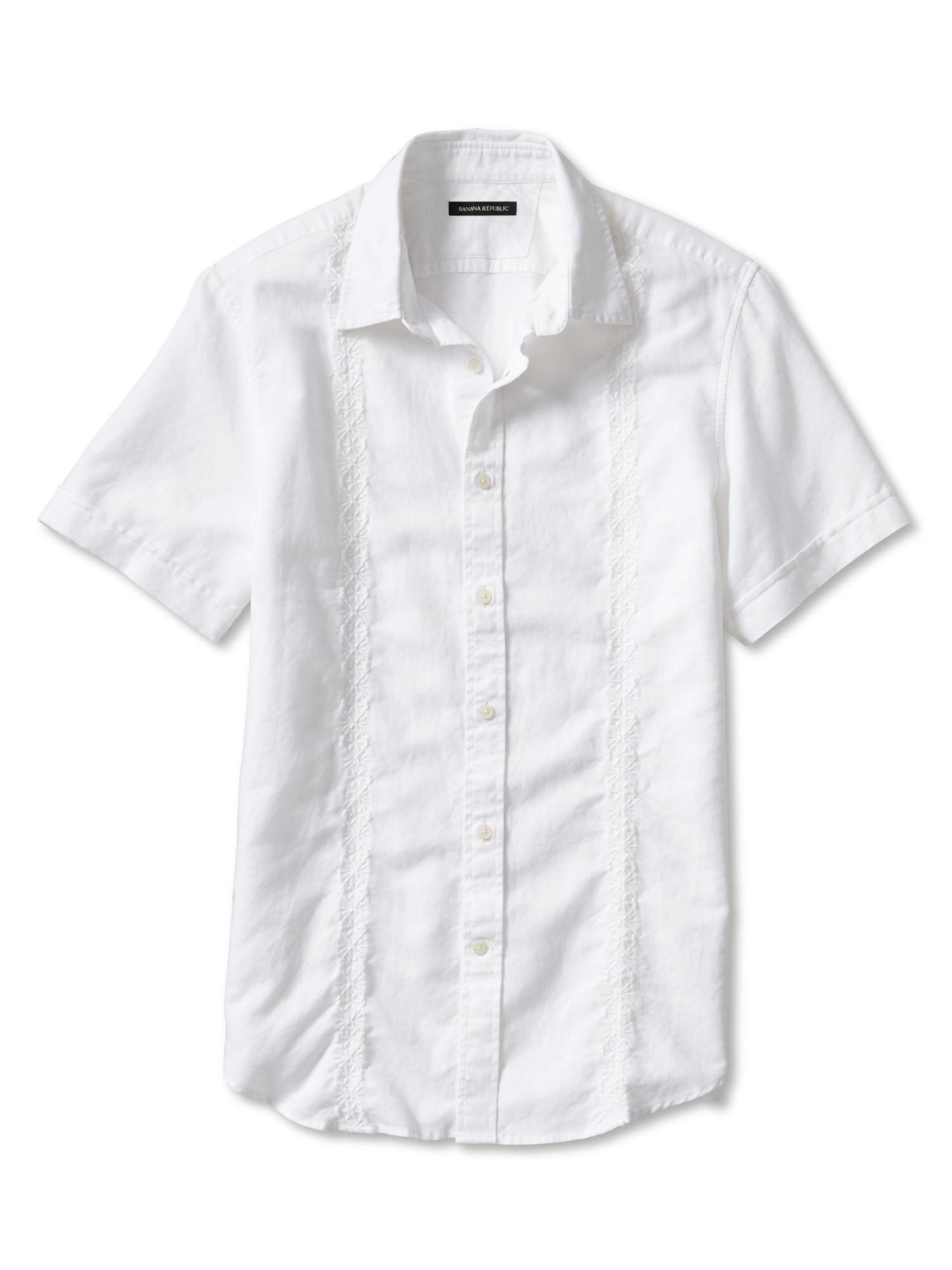Banana republic slim fit embroidered white linen cotton for Banana republic torino