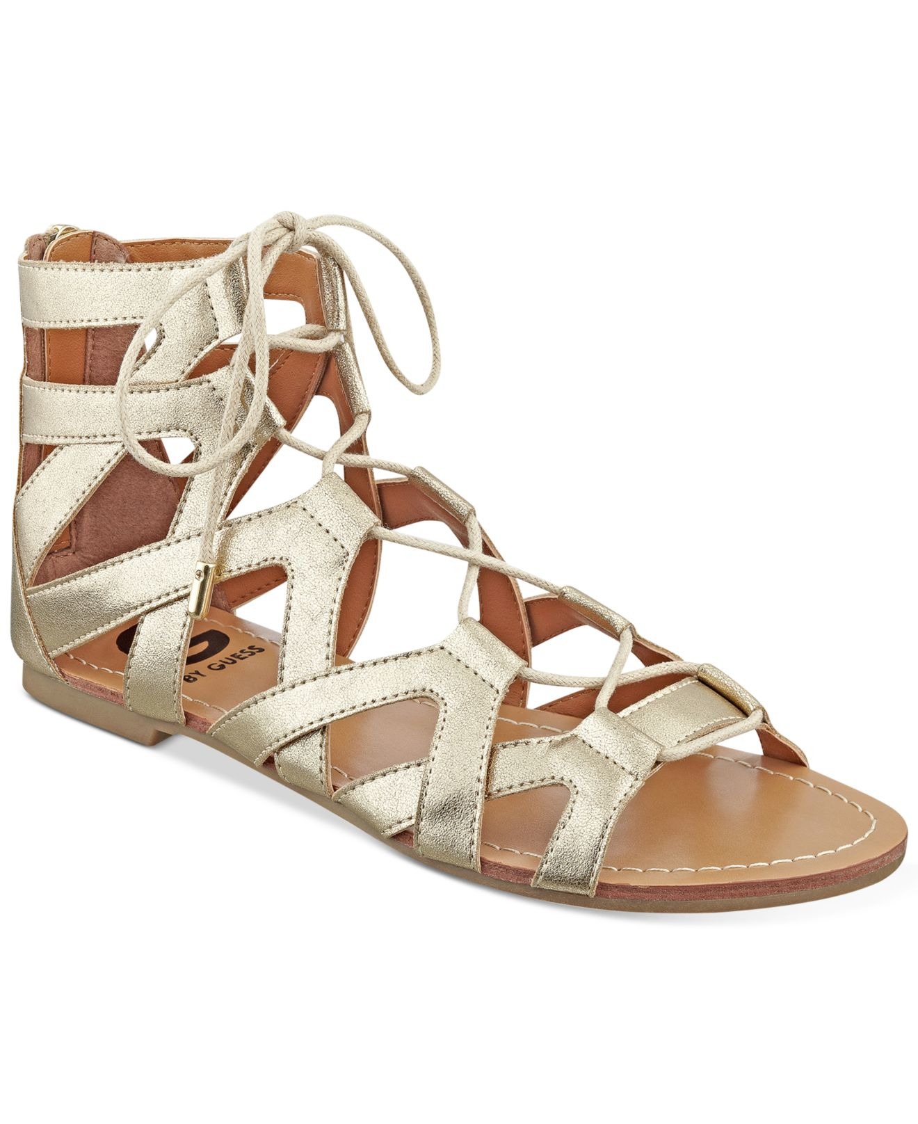 c2dba7e94fa2 Lyst - G by Guess Lookie Lace-up Gladiator Sandals in Natural