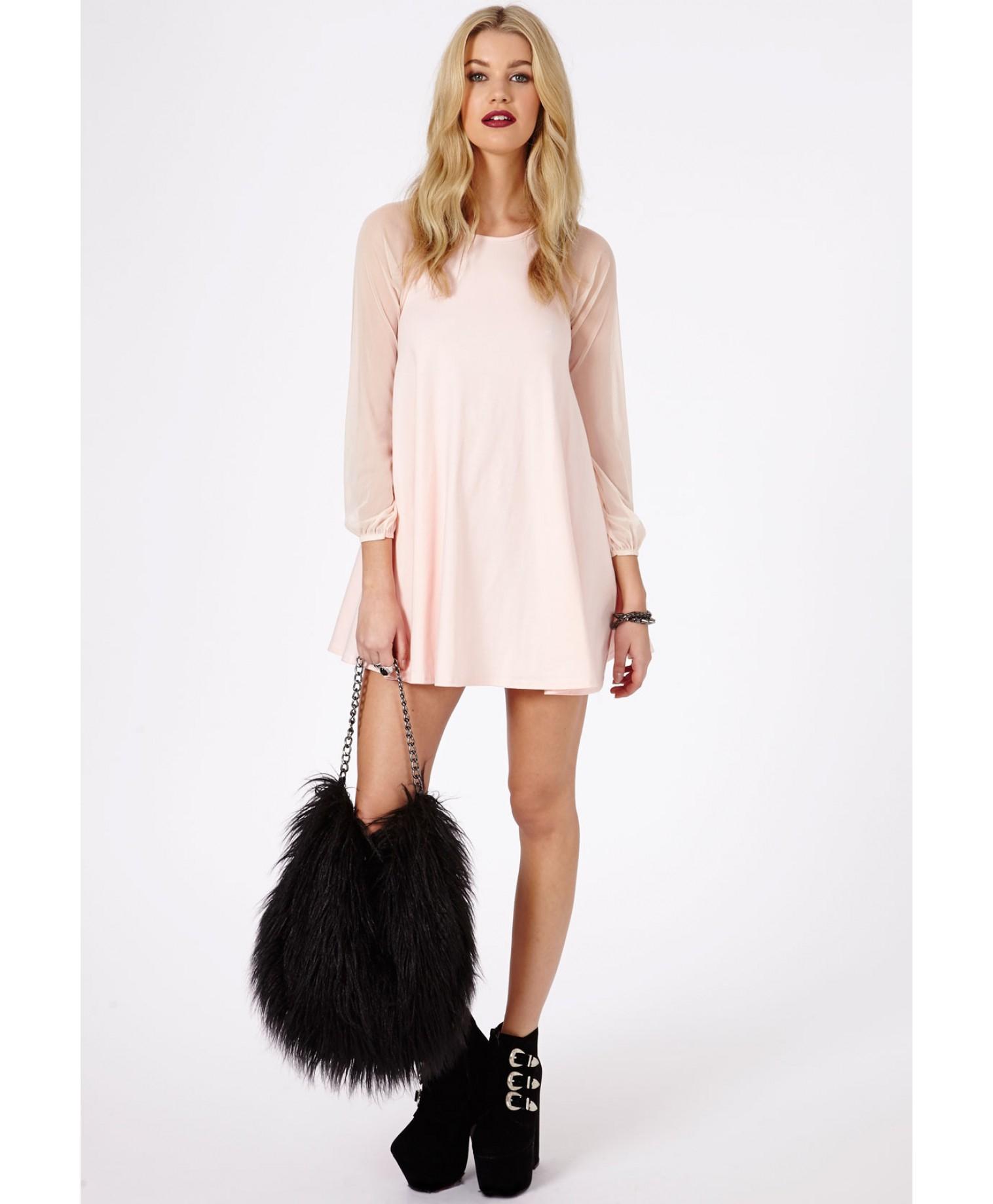 Abbie Nude Short Sleeve Hooded Bodycon Dress - Dresses