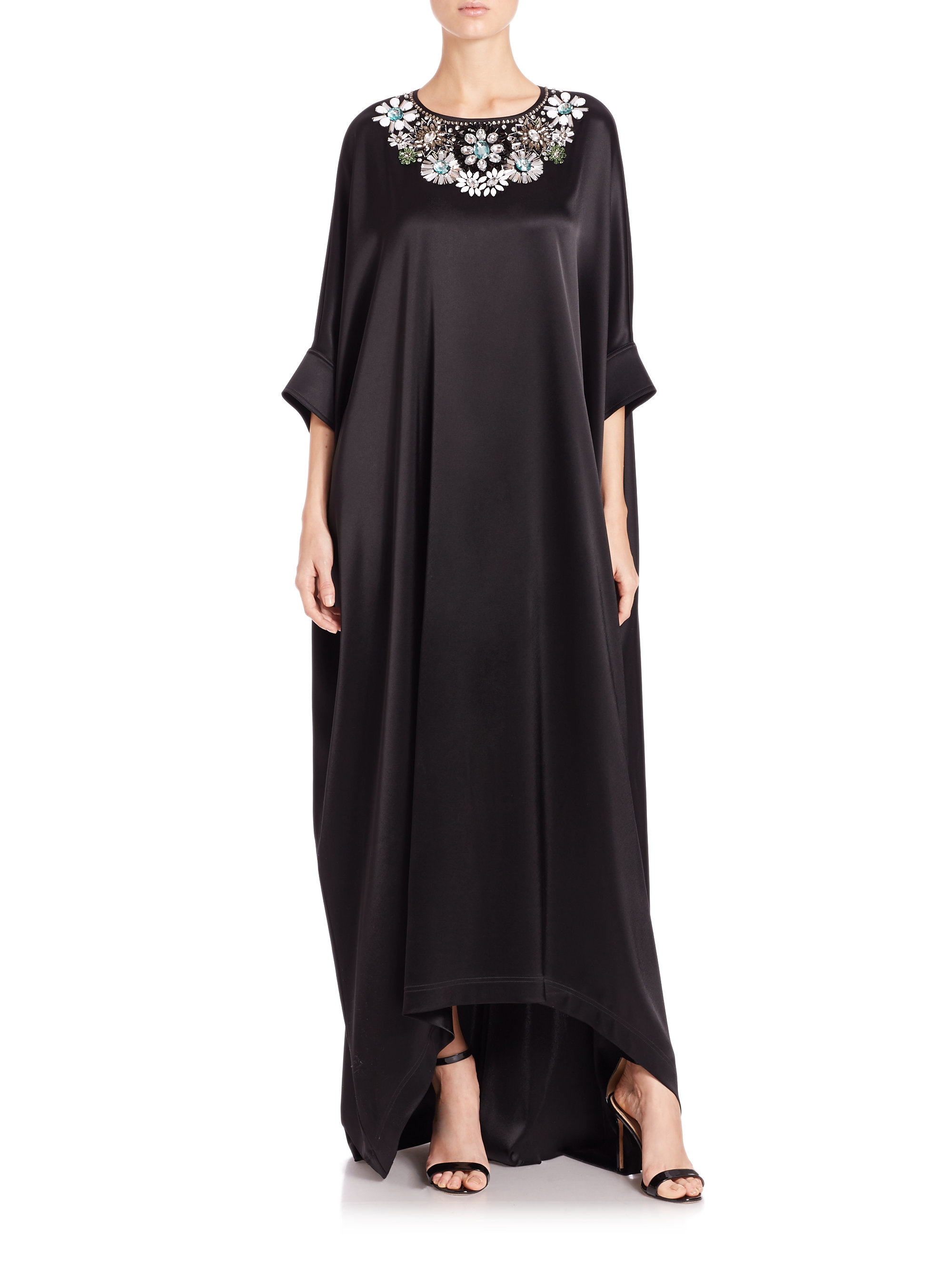 St. john Jeweled Caftan Gown in Black | Lyst
