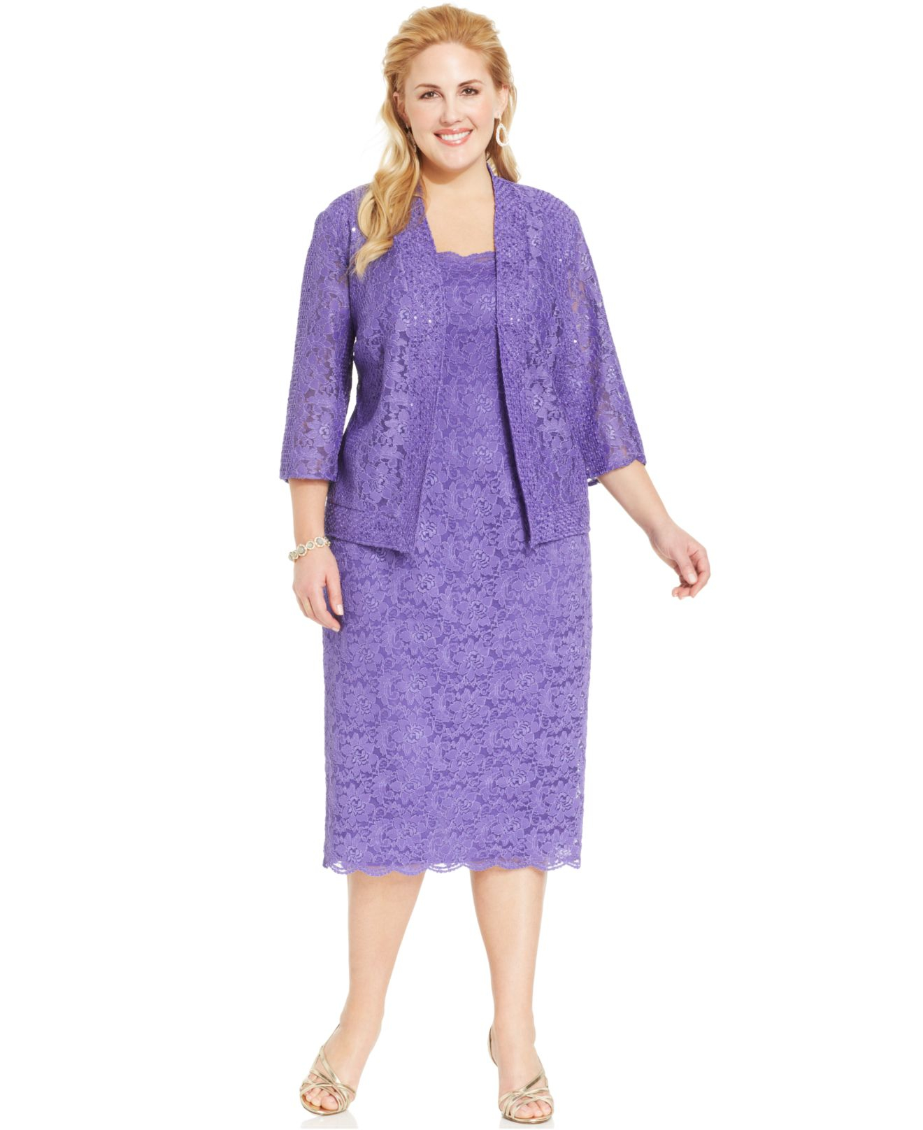Alex evenings Plus Size Sequin Lace Dress And Jacket in Purple | Lyst