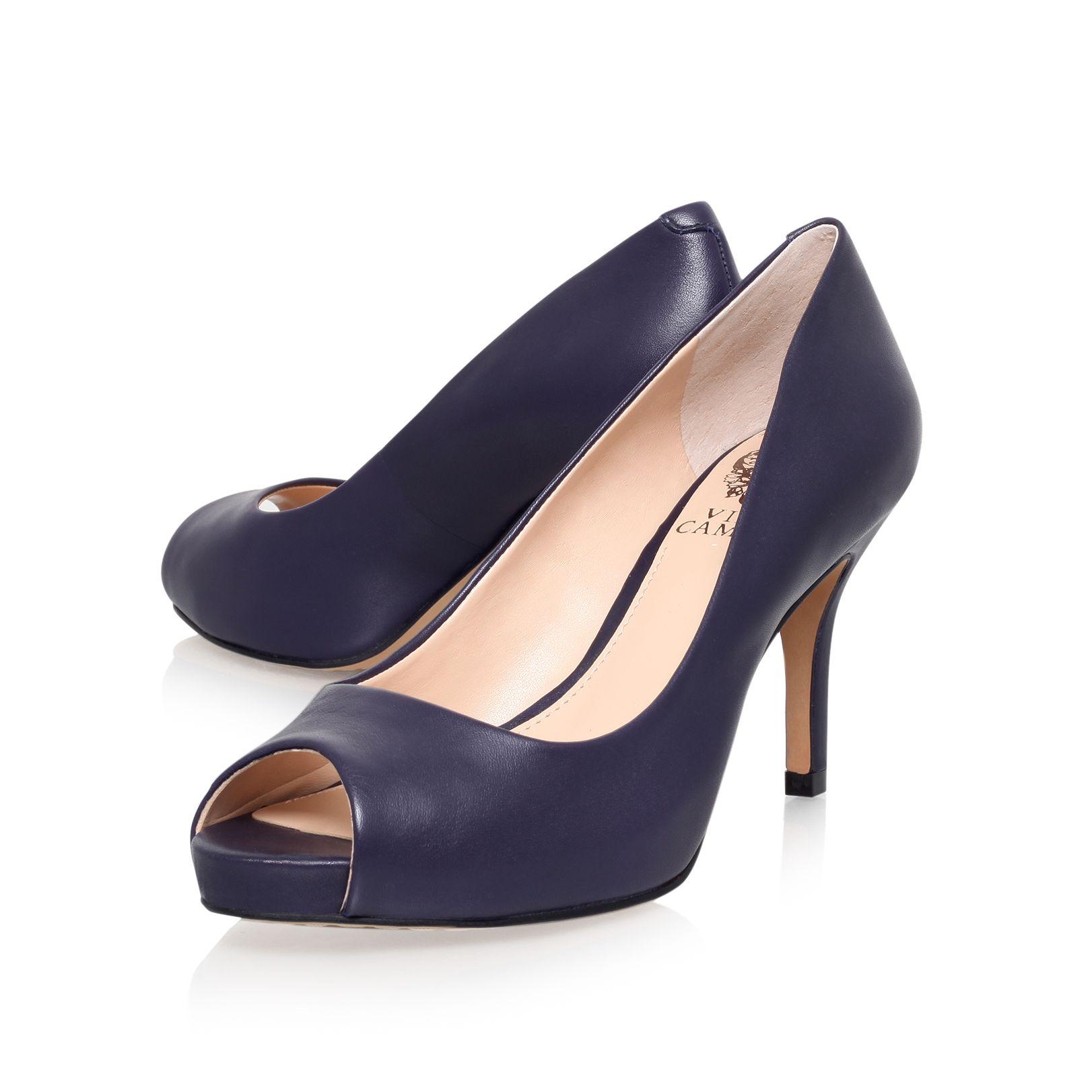 Navy Blue High Heel Shoes Open Toe