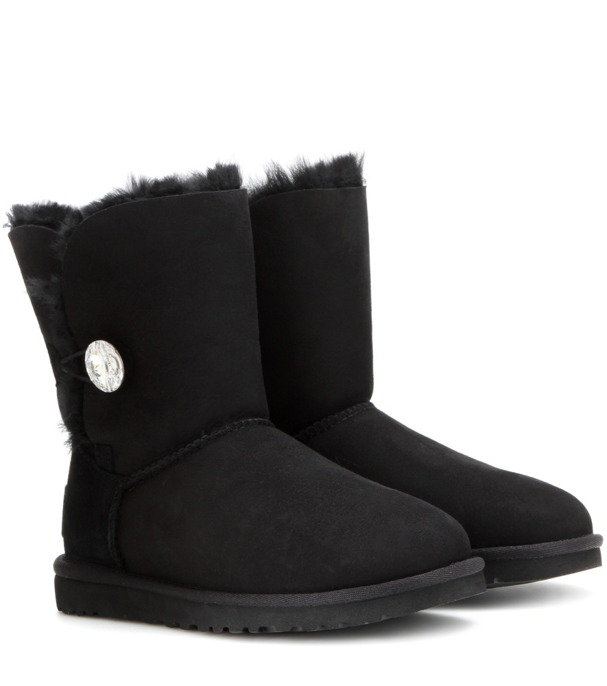 lyst ugg bailey button suede boots in black. Black Bedroom Furniture Sets. Home Design Ideas