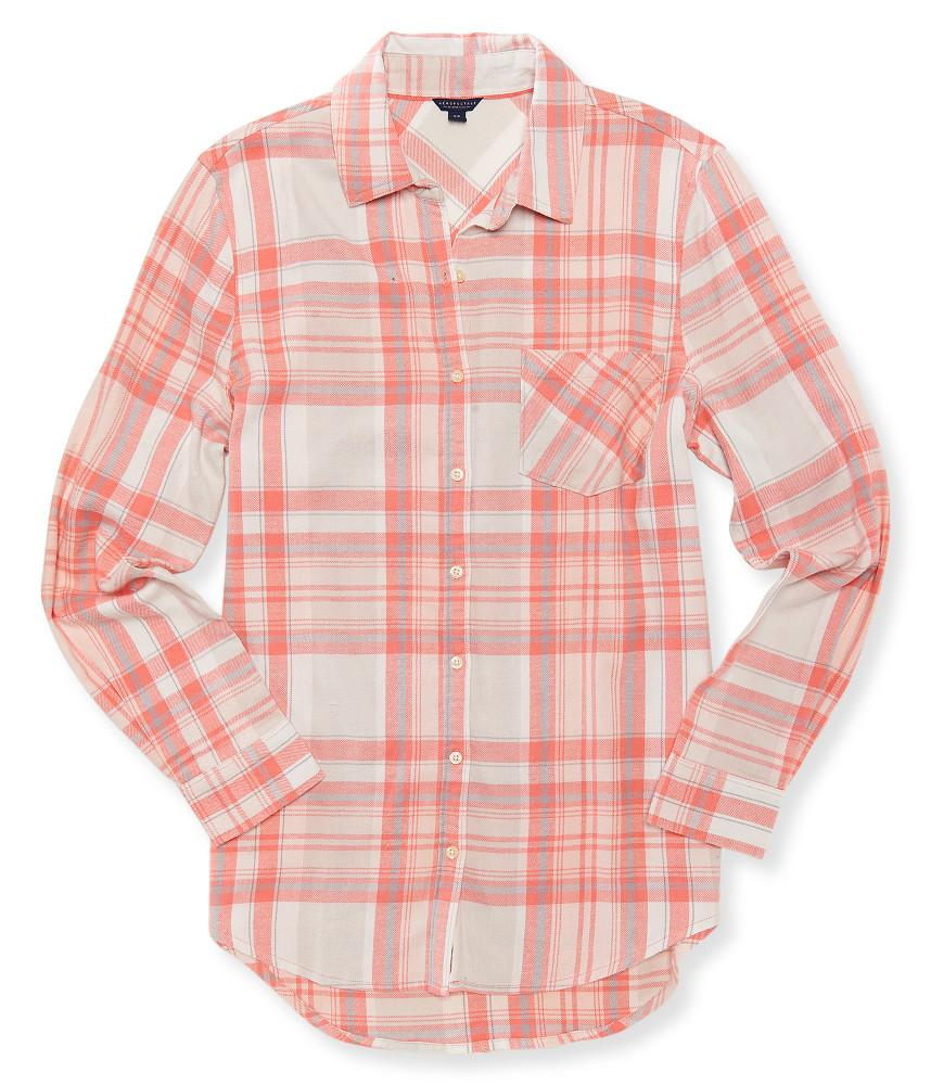 A ropostale long sleeve light plaid flannel woven shirt in for Lightweight plaid shirt womens