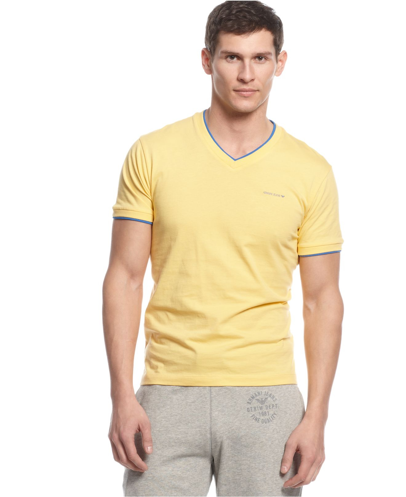 Armani Jeans Double Layer V Neck T Shirt In Yellow For Men