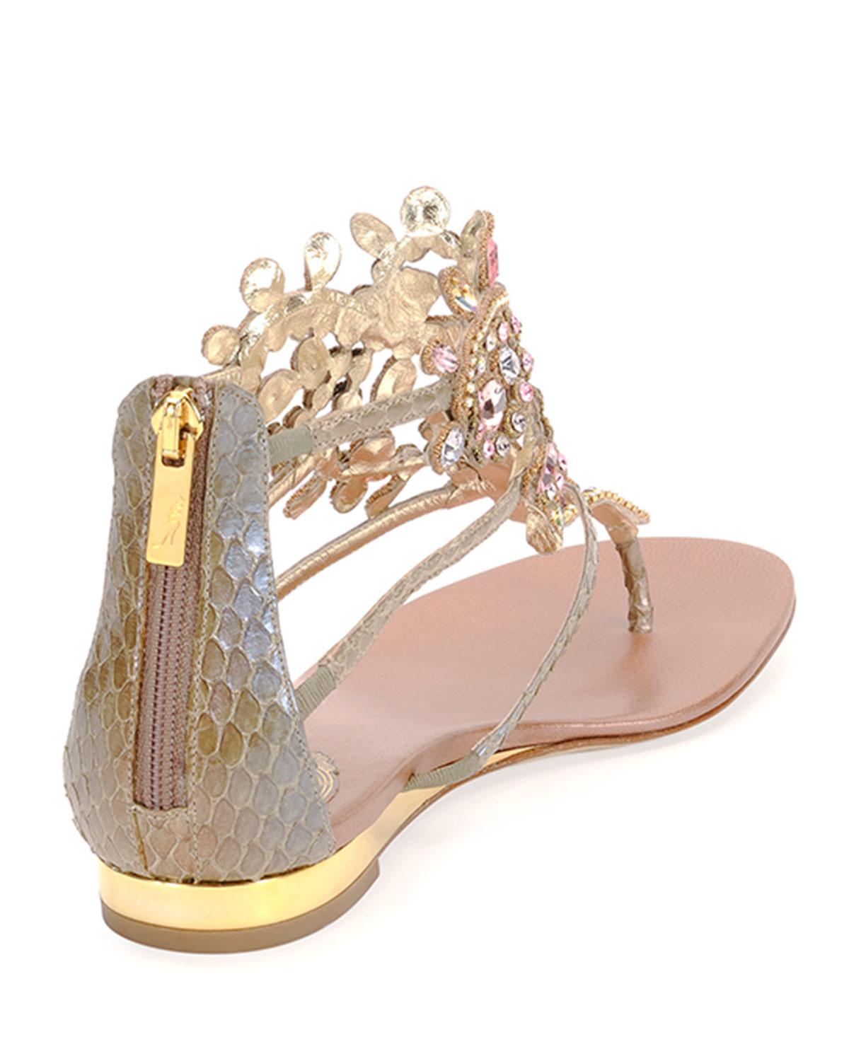 Rene caovilla Crystal-Chandelier Leather Thong Sandals in Natural ...