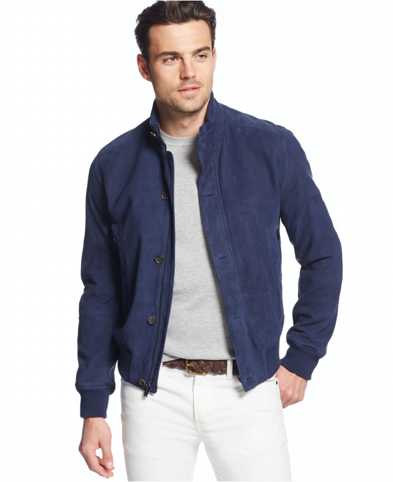 Michael kors Perforated Suede Bomber Jacket in Blue for Men | Lyst