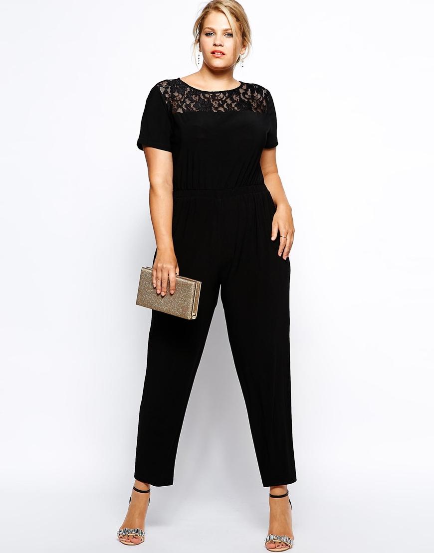 486623954fd Lyst - AX Paris Plus Size Lace Top Jumpsuit in Black