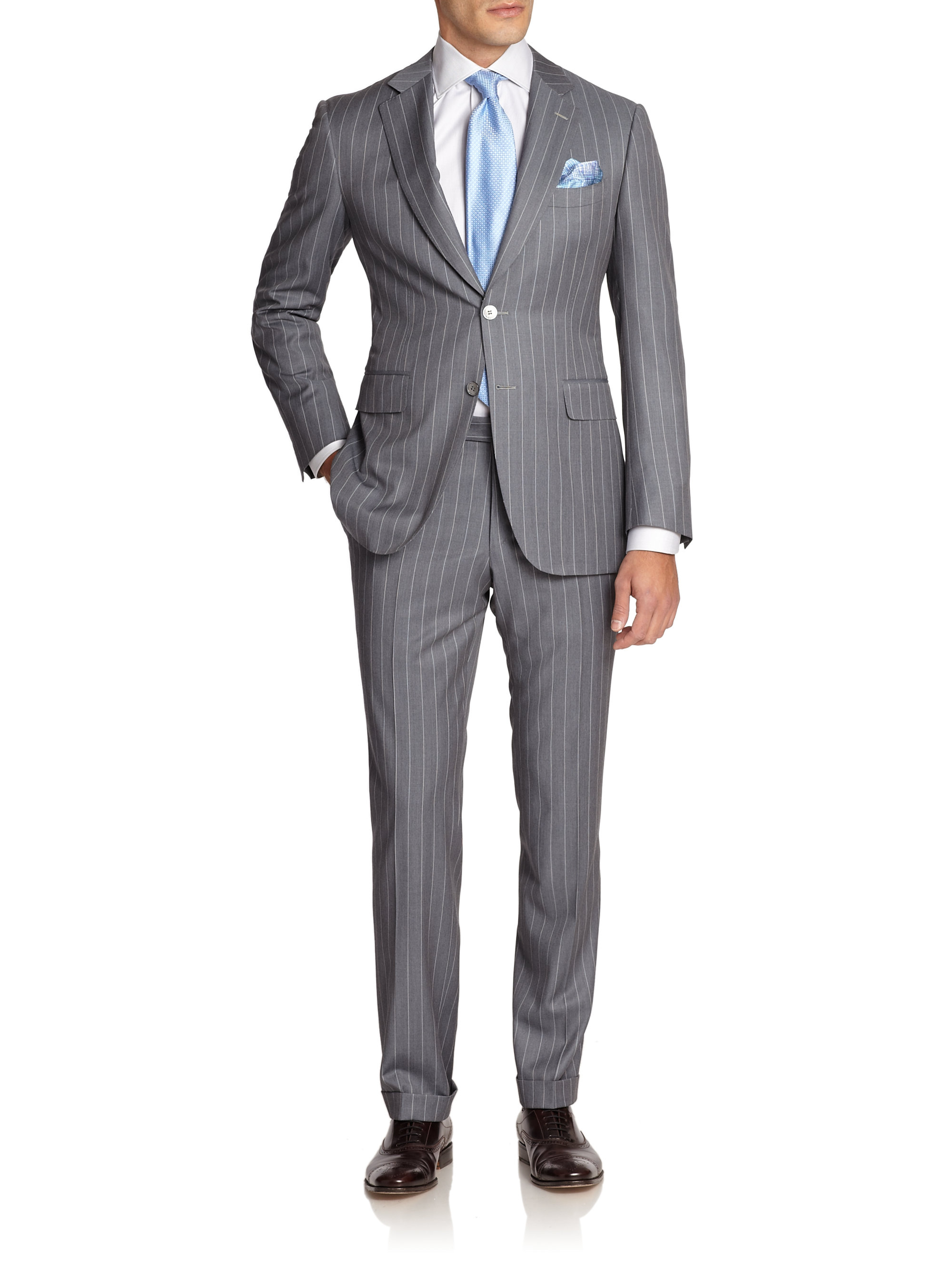Canali Pinstriped Wool Suit In Gray For Men Lyst