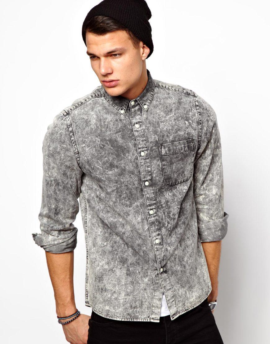 Asos Denim Shirt In Long Sleeve With Black Acid Wash In