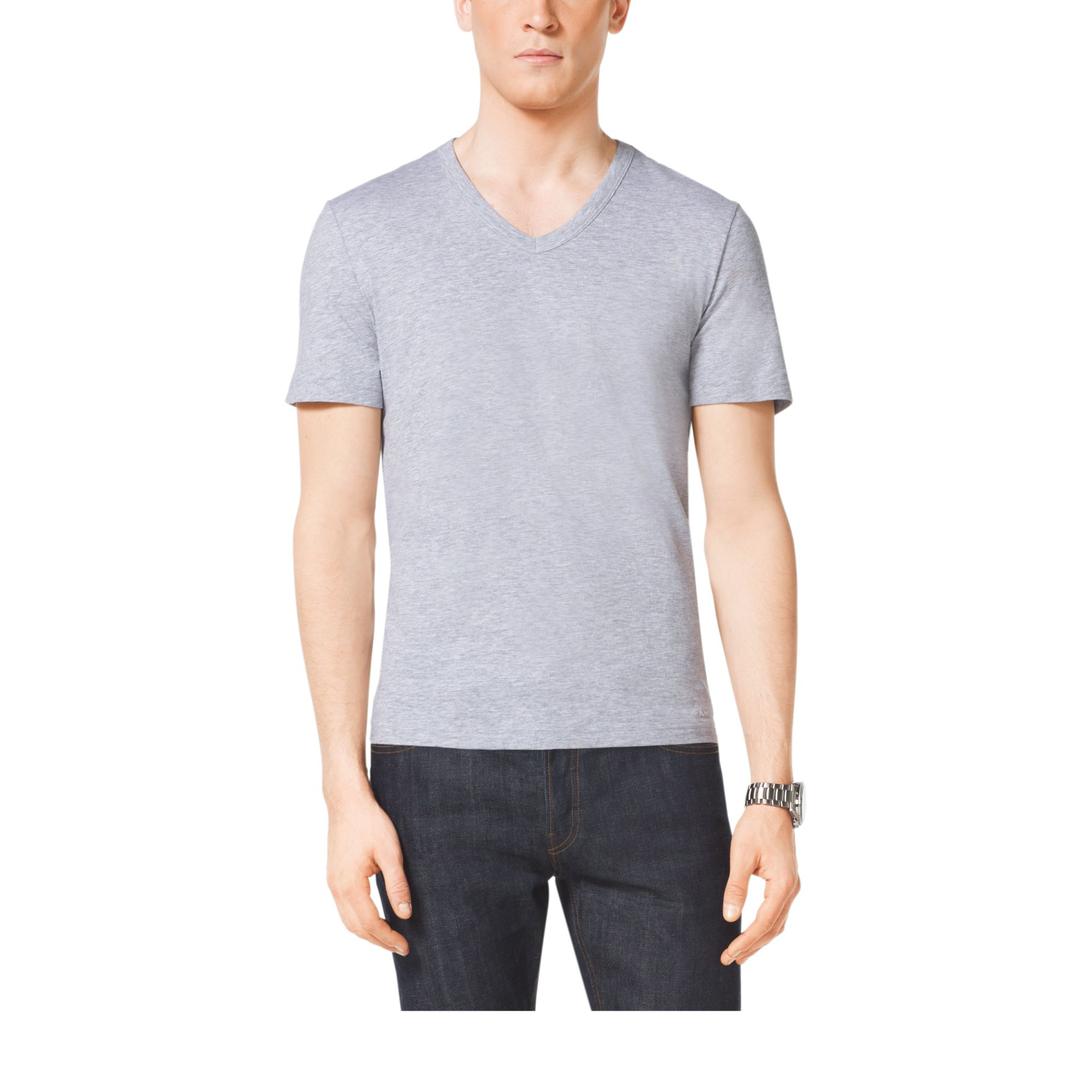 Michael kors v neck cotton t shirt in gray heather grey for Michael stars t shirts on sale