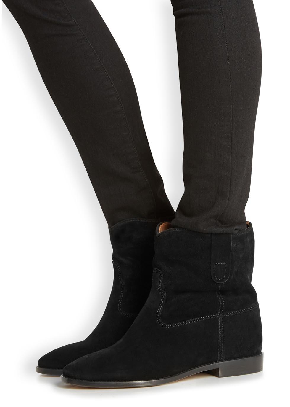 toile isabel marant crisi black suede wedge boots in black lyst. Black Bedroom Furniture Sets. Home Design Ideas