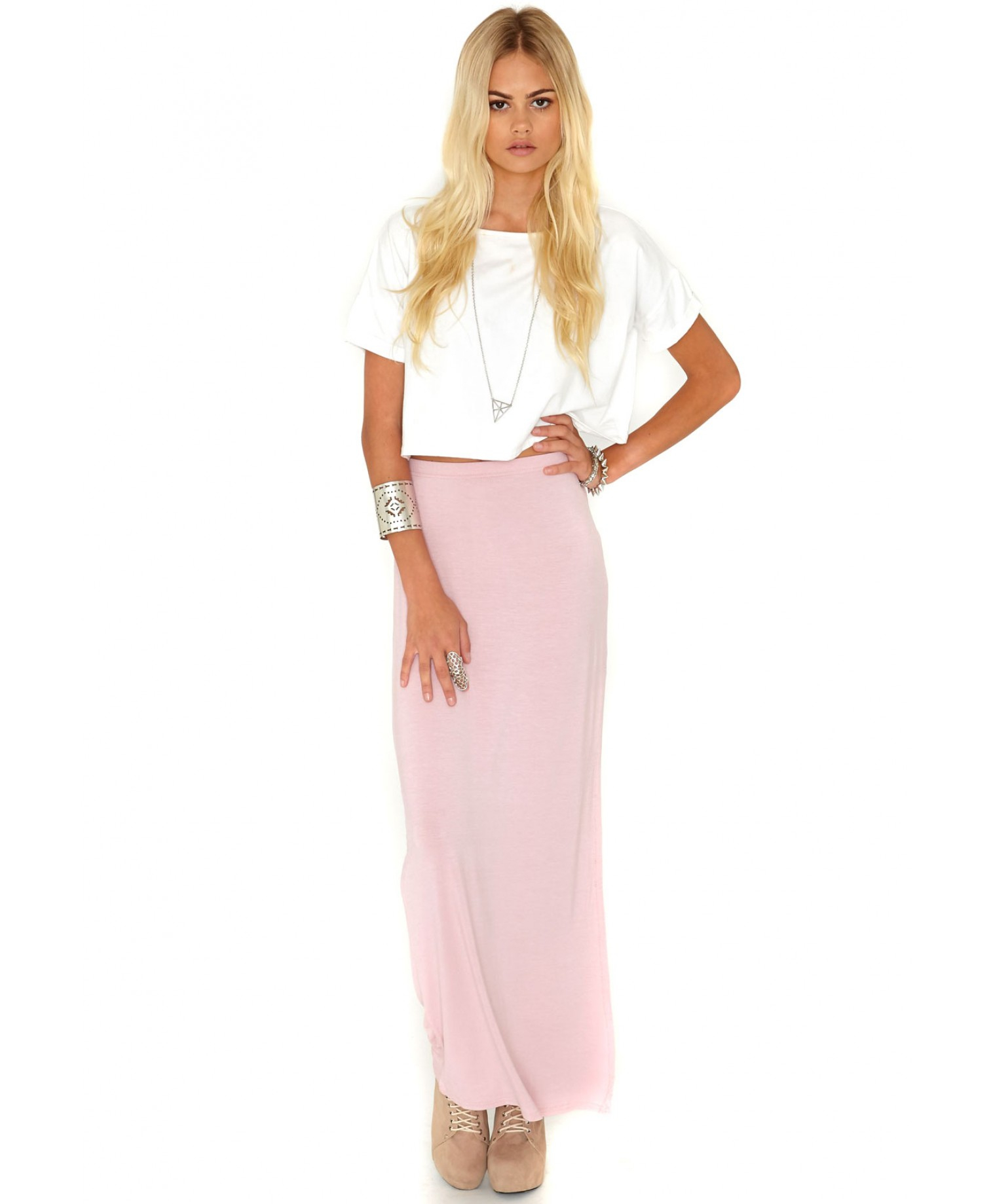 missguided value split maxi skirt in dusky pink in