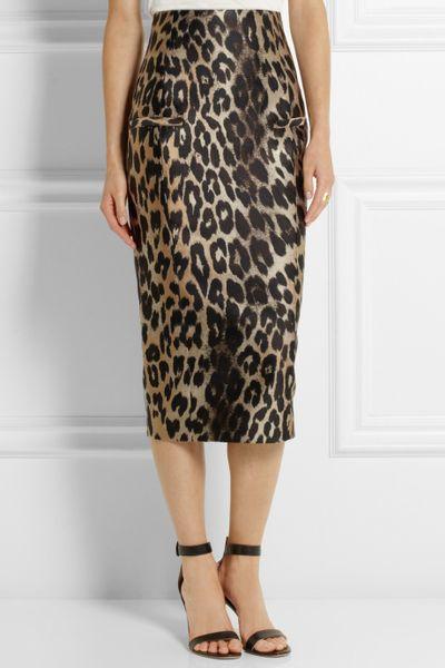 balmain leopard jacquard midi skirt in animal animal