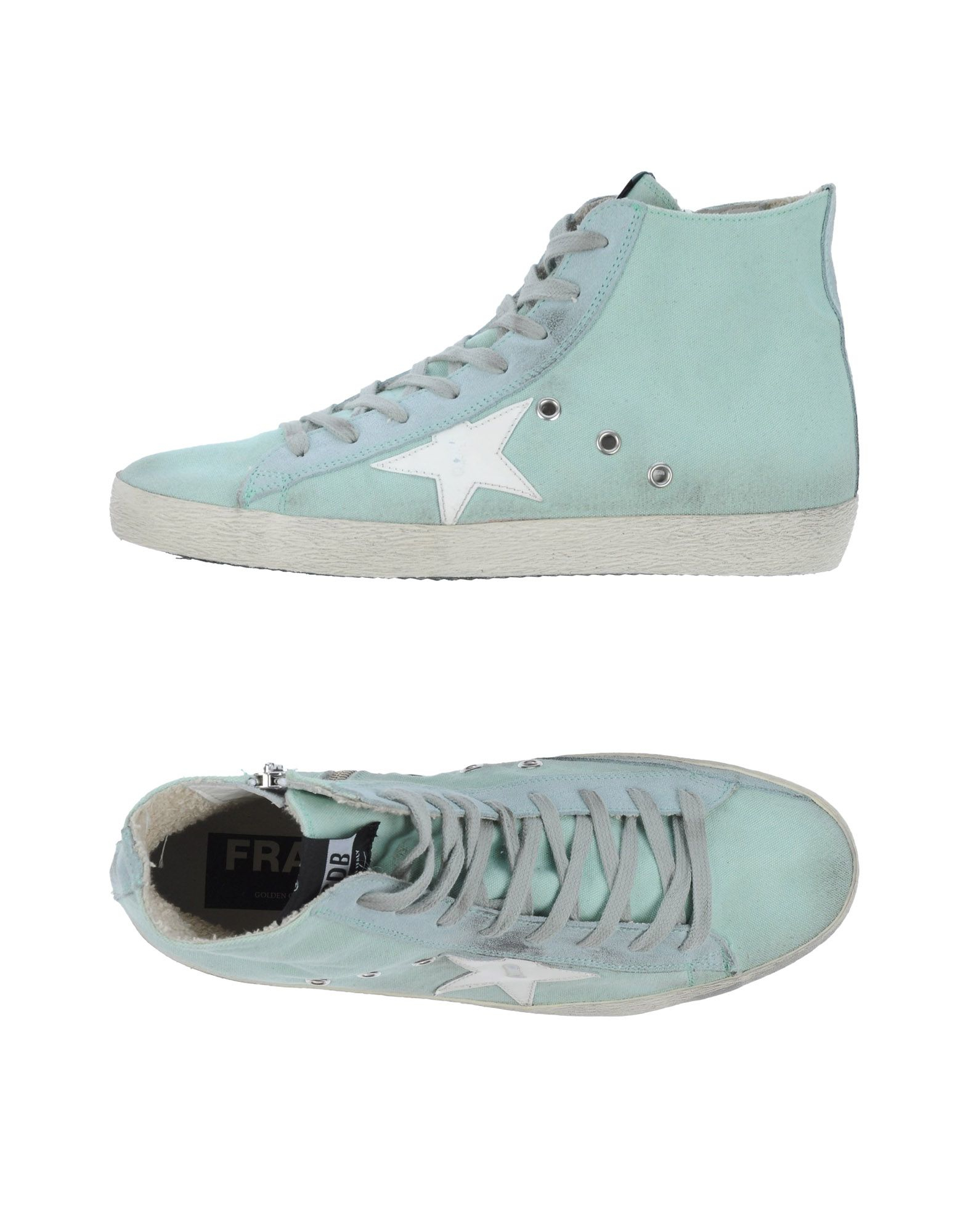 golden goose deluxe brand high tops trainers in blue light green lyst. Black Bedroom Furniture Sets. Home Design Ideas