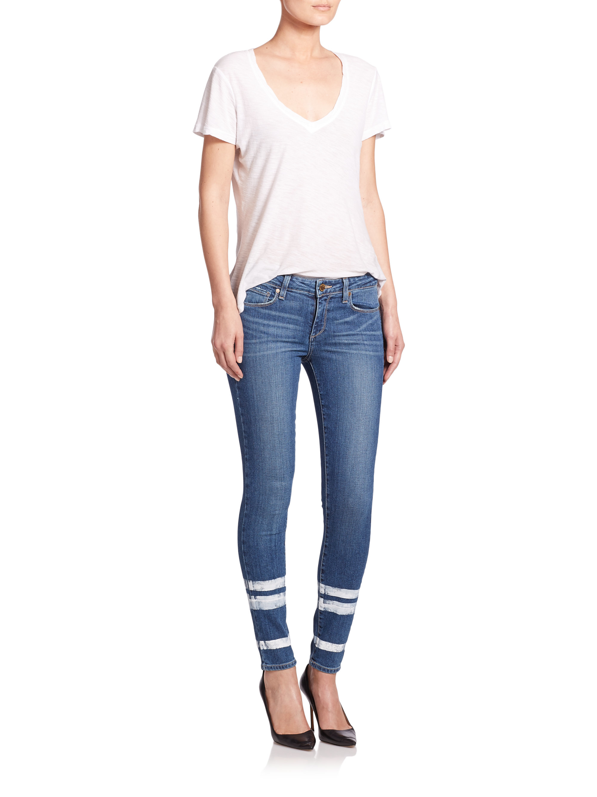 Paige Verdugo Skinny Ankle Jeans In Blue Lyst