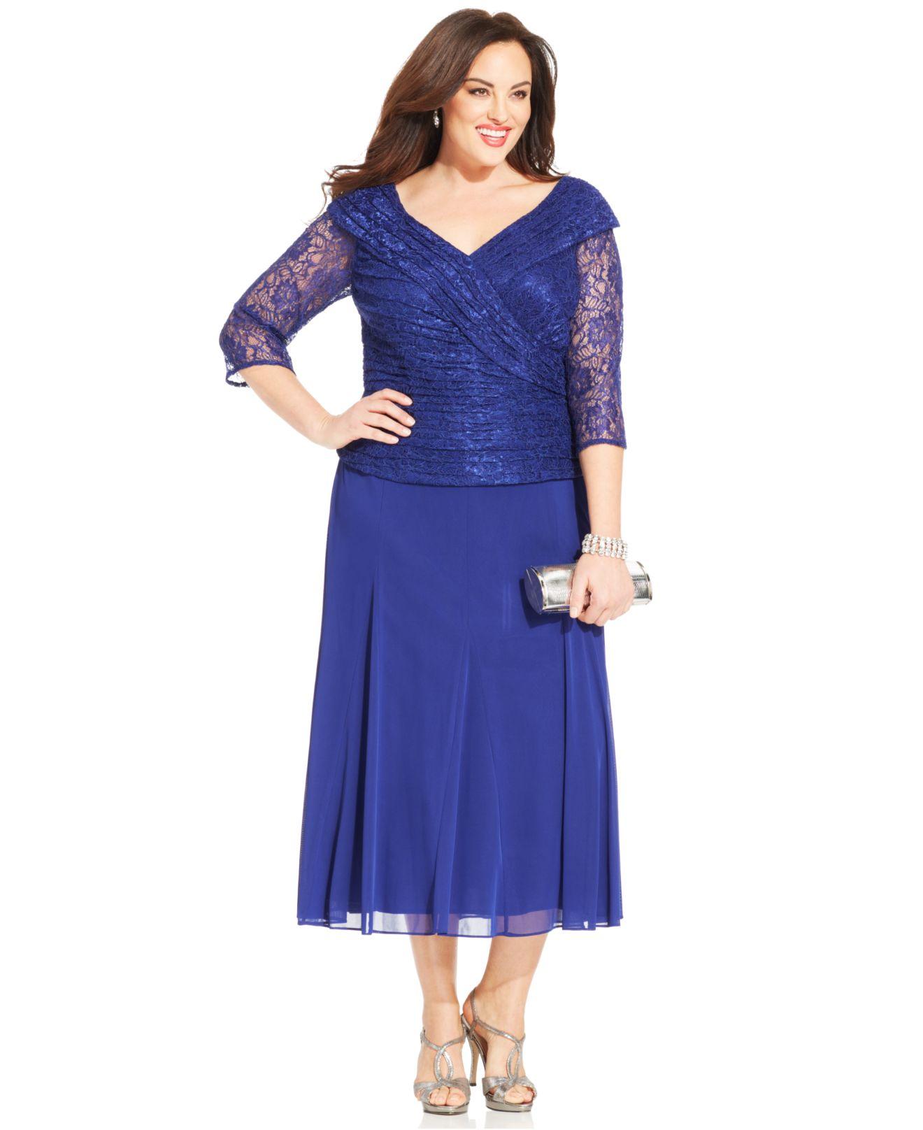 5cd29c00adae Alex Evenings Plus Size Lace Portrait-Collar Dress in Blue - Lyst