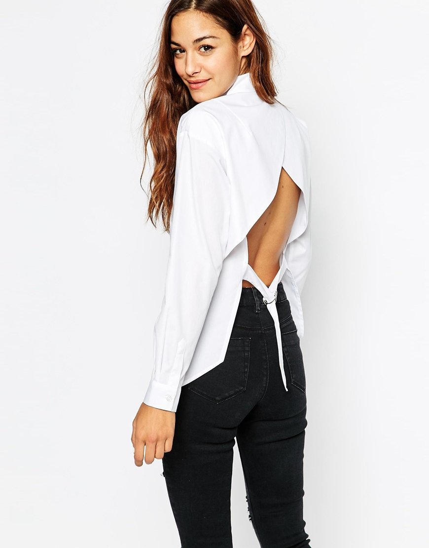 lyst asos open back white shirt in white. Black Bedroom Furniture Sets. Home Design Ideas