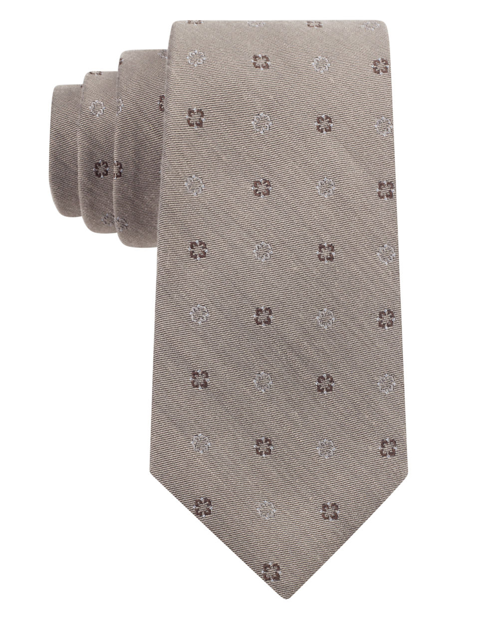 Dkny silk blend floral embroidered tie in khaki for men lyst