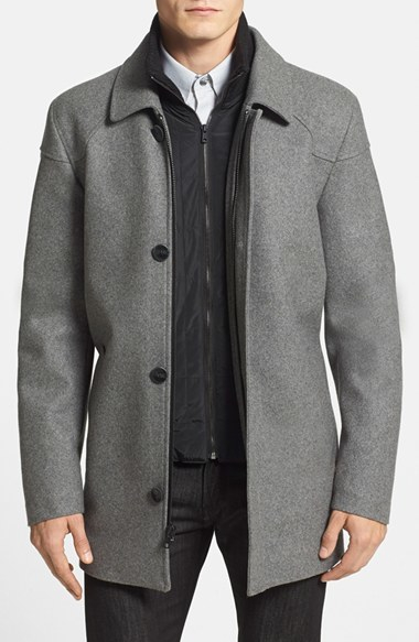 Vince Camuto Melton Car Coat With Removable Bib In Gray