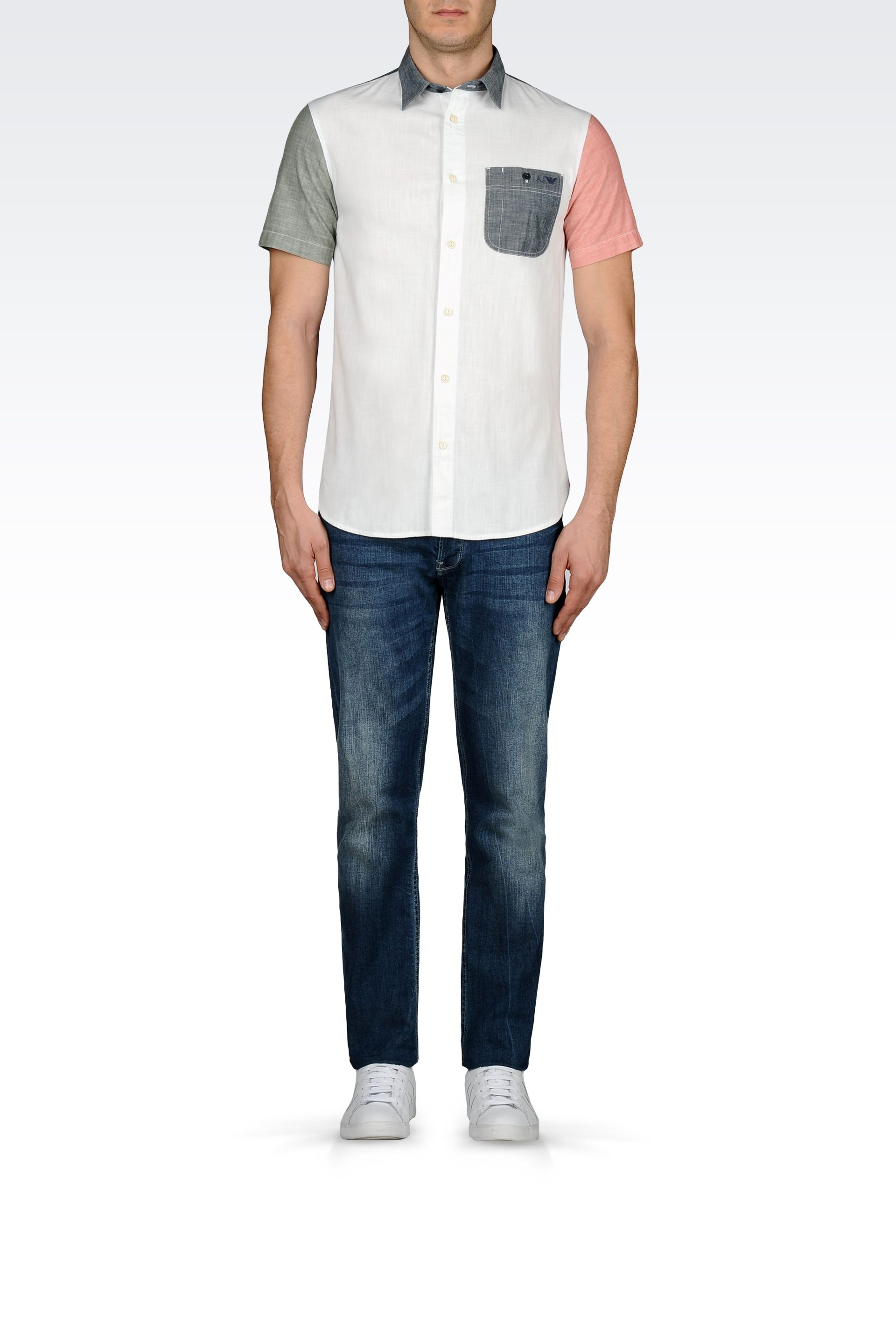 Lyst armani jeans slim fit chambray shirt in white for men for Chambray jeans