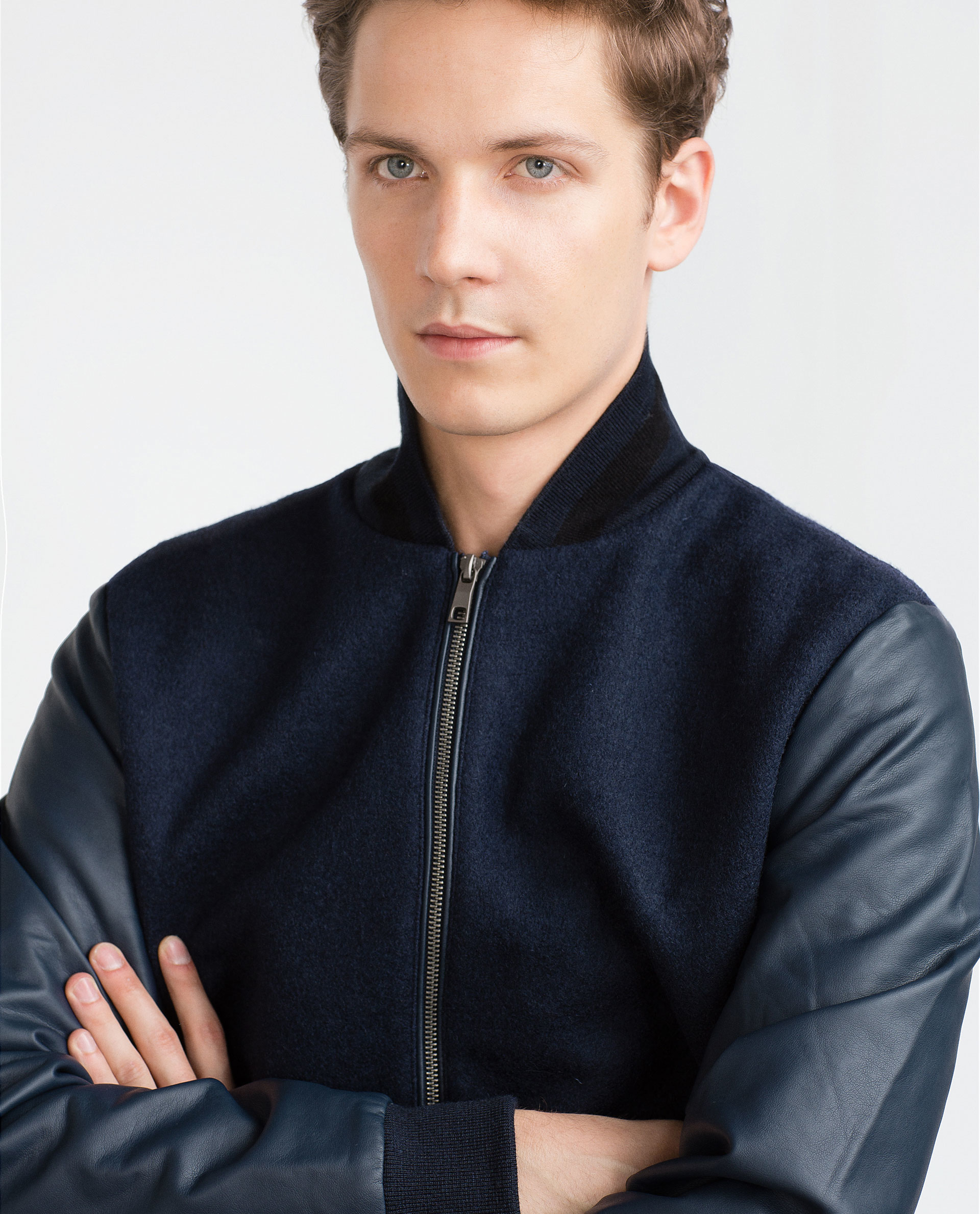 Zara Combination Bomber Jacket in Blue for Men | Lyst
