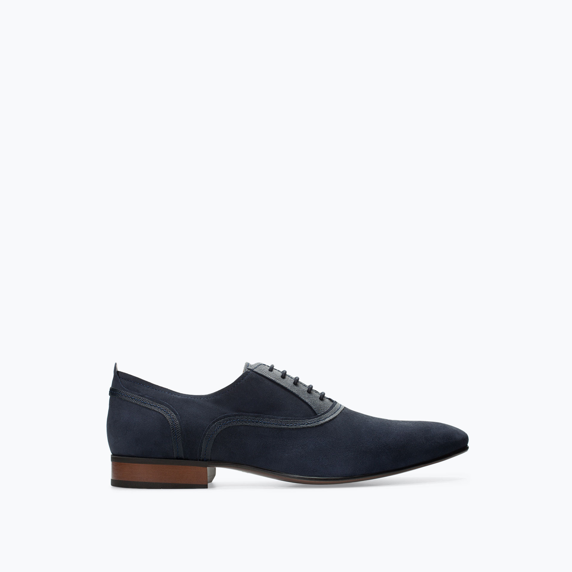 Zara Embossed Leather Oxford Shoe In Blue For Men | Lyst