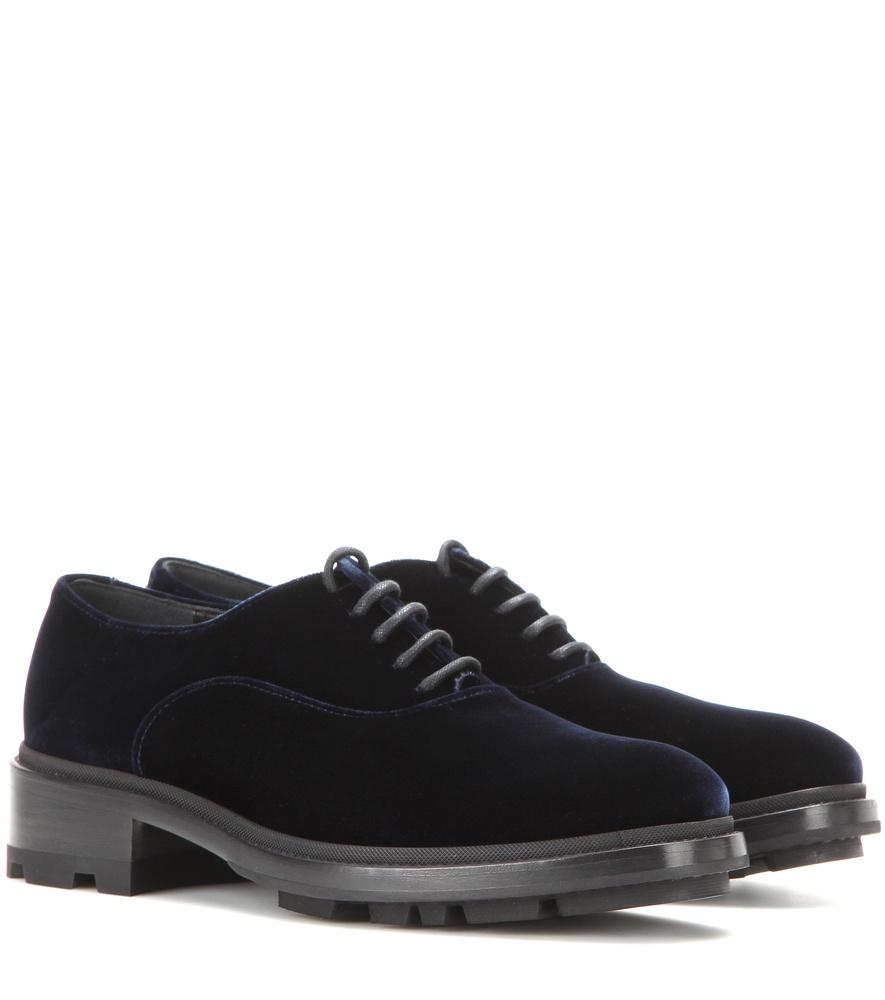 Jil Sander Velvet Oxford Shoes In Blue | Lyst