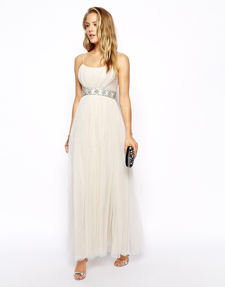 Needle & thread Tulle Ballet Maxi Dress in White