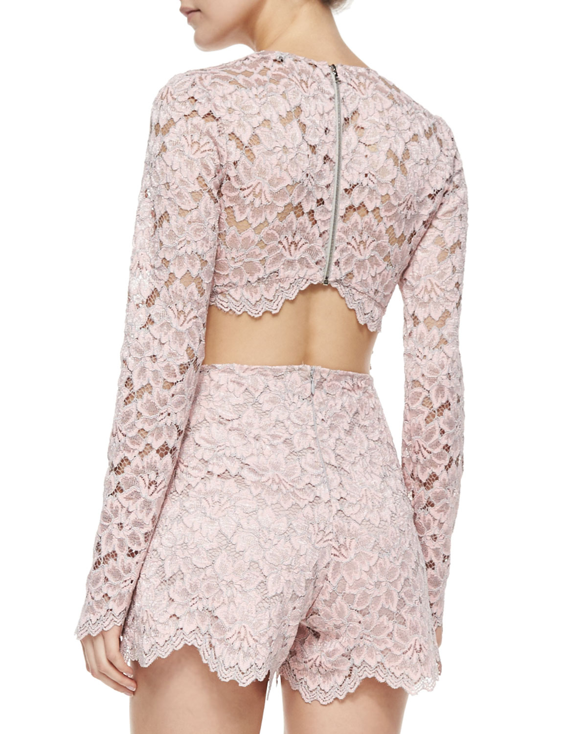 495889994 Lyst - Alexis Long-Sleeve Lace Short Romper in Pink