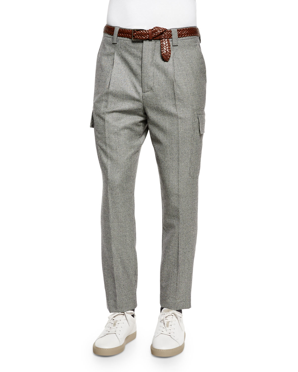 Wool jogger pants Leisure Fit grey patterned Brunello Cucinelli JHhoYH