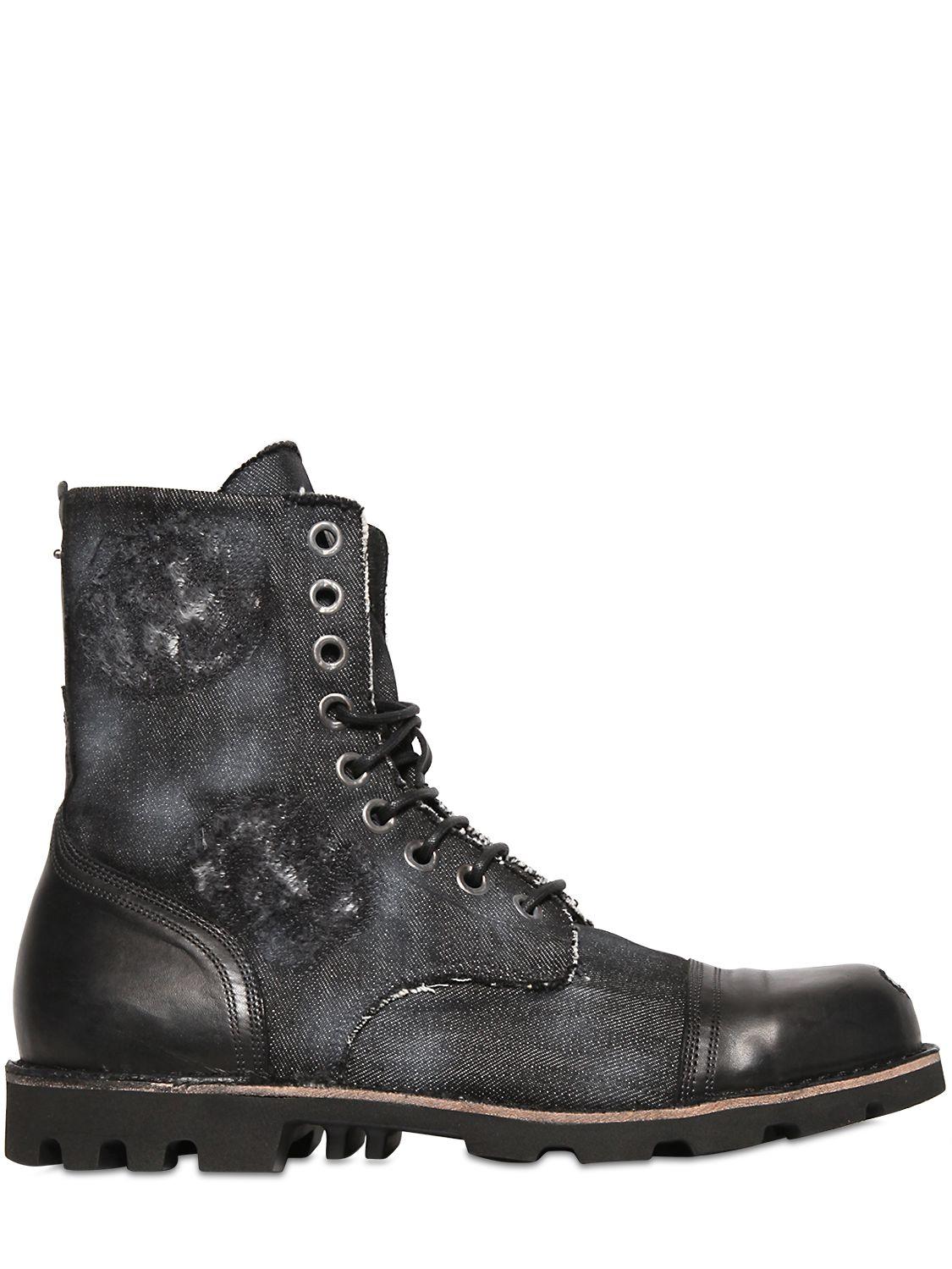 diesel steel toe distressed denim boots in black for men
